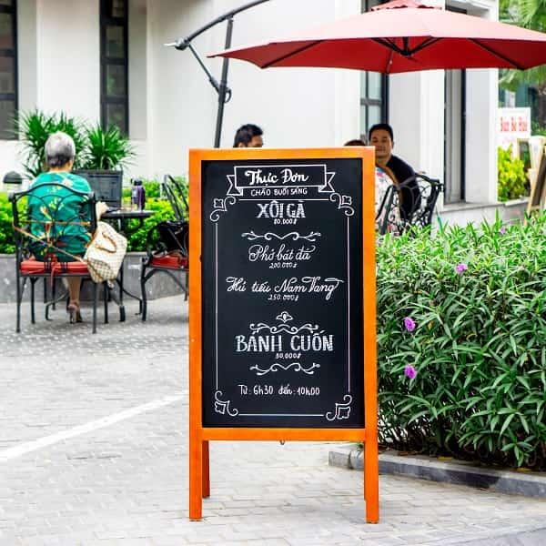 Bảng menu viết phấn